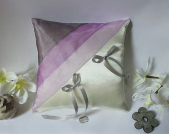 Purple and gray ring bearer pillow