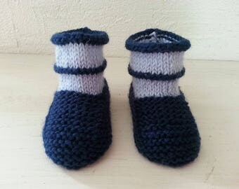 Little ones toes boots mixed Navy Blue & sky blue 3-6 months - booties