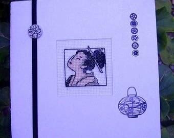 Hand embroidered card: geisha head
