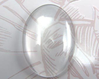 Cabochons 25 x 18 mm oval clear glass set of 10