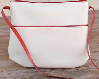 Small shoulder bag red and white sparkly
