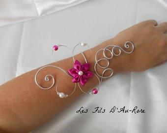 BELLA flower fuchsia wedding bracelet & silver