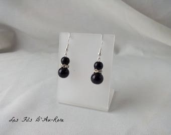 """Earrings """"Azure"""" beads with Pearly black"""