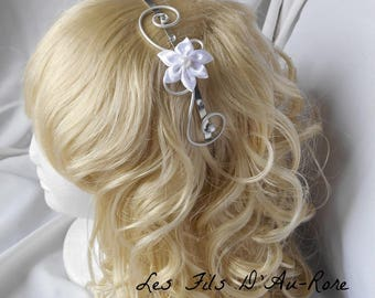 Headband with white satin flower