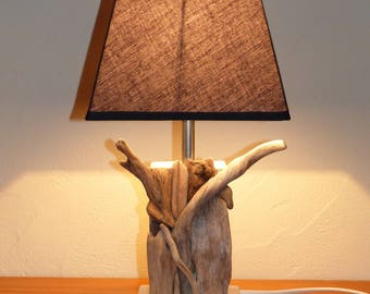 Driftwood and pallet lamp natural grey brown beige black 33 cm