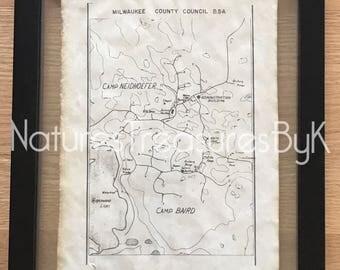 1976 LeFeber Northwoods Camps Map~Floating FRAME~Hand Stained Vintage Look