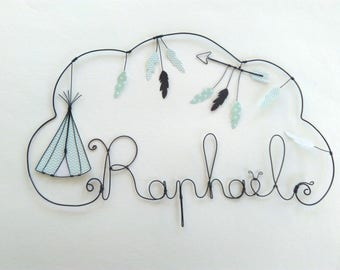 """Personalized wire name """"TEEPEE arrow and feathers"""" wall decor for child's room"""