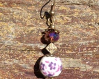 Earrings Goda goda beads bronze faceted dark purple