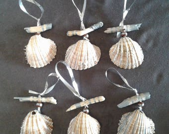 6 shells and Driftwood Christmas tree ornaments: Silver