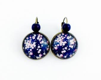 Stud Earrings - cabochon - flowers Japanese Sakuro