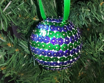 Christmas ball with sequins - green and blue