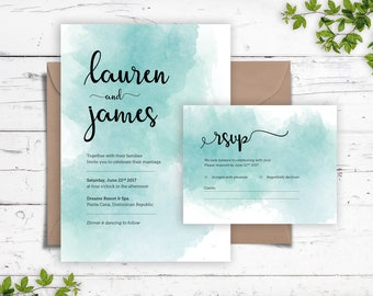 Watercolor Wedding Invitation + Reply Card | Printable