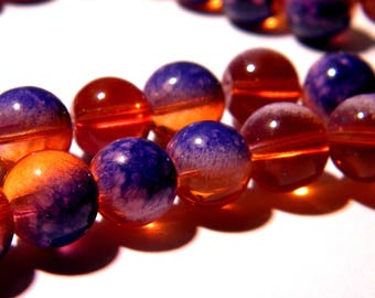 20 glass beads 10 mm - translucent 2 tones orange-purple-glass - 4 F194 bead