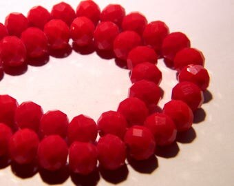 20 glass beads faceted - 8 x 6 mm - abacus - abacus - faceted-red - F109 rondelle bead