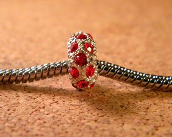 bead charms European-rhinestones-red - plated - 11 x 6 mm BA-018