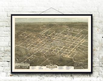 Raleigh North Carolina 1872 Bird's Eye View Map Fine Art Print