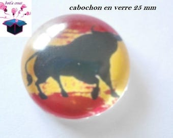 1 cabochon clear 25 mm Spanish flag theme