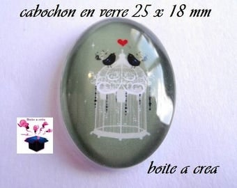 1 cabochon glass 25mm x 18mm number 6