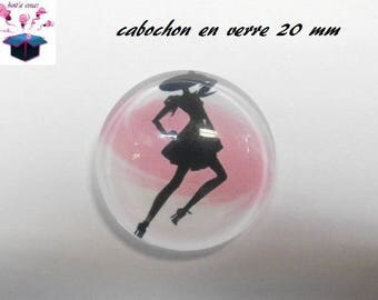 1 cabochon clear 20mm woman in black theme