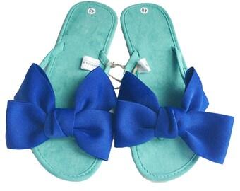30 % off Summer Sales ! Chic-Mild Hand Made Blue Bows Green  Flip Flops Sandals