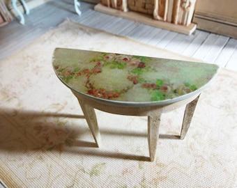 miniature dollhouse wood table half moon table entyway table dollhouse furniture chalk paint handpainted wooden table