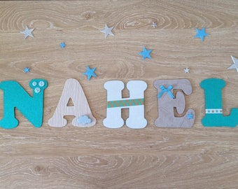 Gaston and Cyril (Nattou) theme wood letter - last name wood personalized