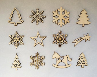 Hanging wooden Christmas tree - wooden Christmas decoration