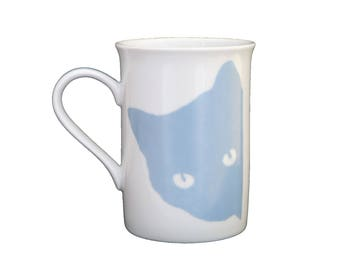 "Mothers day mug Cup ""Curious cat"" porcelain painted by hand, cat paws"