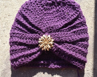 Royal Purple Turban with a golden Flower Brooch