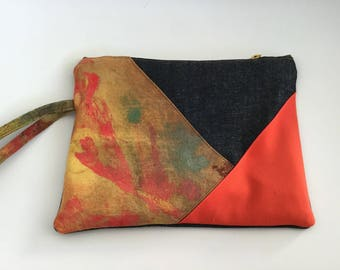 Hand painted Denim Blue, orange and mustard fabric pouch / reserved