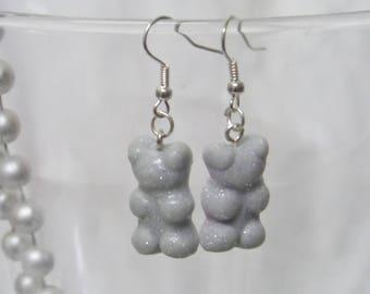 Teddy grey glitter candy earrings