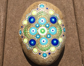 Mandala stone in cool tones