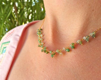 Jade gold plated necklace
