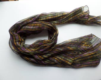 Silk Crinkle Georgette Scarf Made with Liberty of London Fabric Purple Yellow and Green