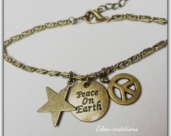 Bronze retro chain bracelet, charm, peace, peace on earth
