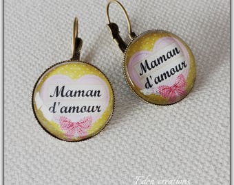 Earrings cabochon glass, love MOM, mother's day