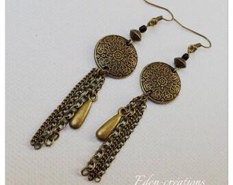 Bronze earrings, vintage chains, sequins, beads, long earrings, trendy