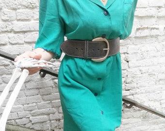 Dress 80's seagreen wavy Detail