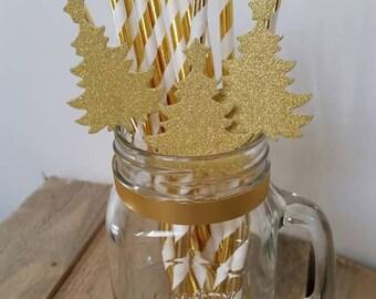 Paper straws gold Christmas tree x 5