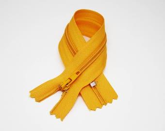 Zip closure, 16 cm, mustard yellow, not separable