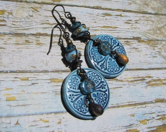 Ceramic earrings handcrafted Bohemian print rosette hearts glass beads and lampwork blue shades