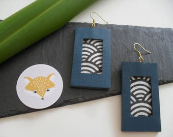 Fabric and leather earrings
