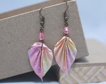 Paper origami leaf earrings