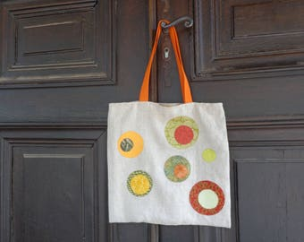 Tote bag in linen with applied circles