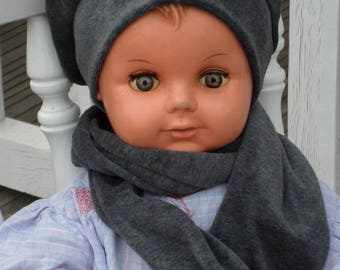 beanie baby and linen snood Hat beret'eva kids gray Velvet