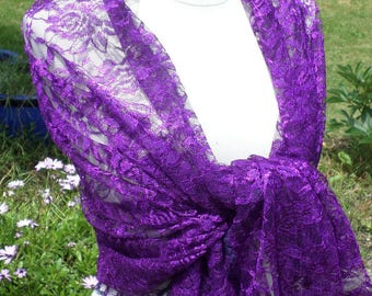 Shawl woman lace pleasant purple wedding