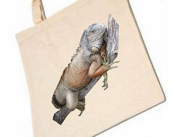 cotton bag with pattern iguana for any occasion