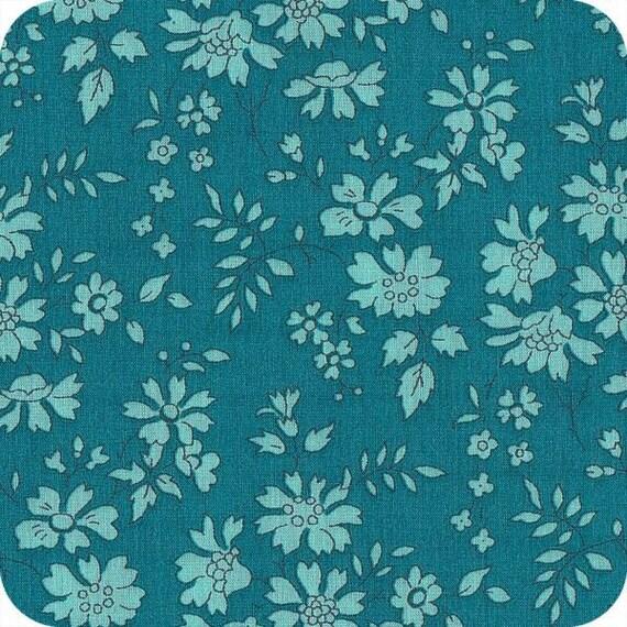coupon tissu motif liberty bleu canard capel. Black Bedroom Furniture Sets. Home Design Ideas
