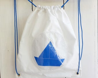 Backpack child white sail boat and recycled blue