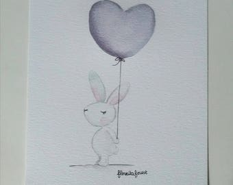 Illustration the White Rabbit and heart balloon